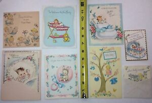 Vintage-New-Baby-Greeting-Card-Lot-Mid-Century-1950-s-Congratulations-Cards-CUTE