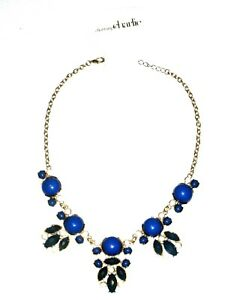 1f28d38d42393 Details about Charming Charlie Necklace Statement Blue Gold Chunky Womens  Rhinestone Costume