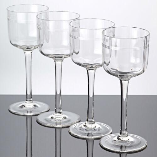 4 Jugendstil Weingläser klar Ringe Kreise Bänder Gravur Schliff  ~ 1910