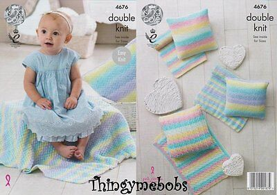 KNITTING PATTERN Baby Easy Knit 3 Styles Blanket /& Cushion DK King Cole 4676