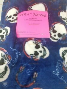 Betsey-Johnson-Sugar-Skulls-Oversized-Ultra-Soft-Throw-Blanket-50x70-Royal-Blue