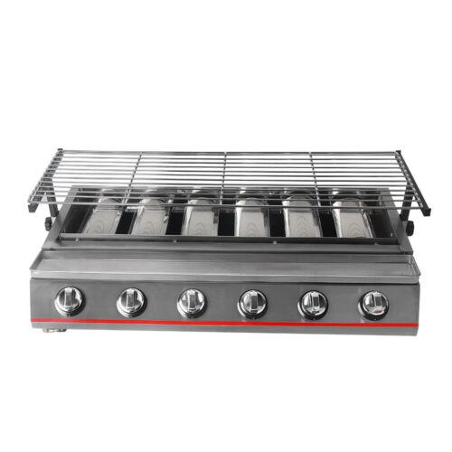 Cuisinière Grill Barbecue 6 brûleurs Barbecue au gaz Grill GPL Sans Fumée Extérieur Camping Barbecue