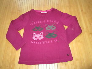 Tee-shirt-violet-Prune-a-motif-ML-Taille-6-marque-NKY-en-TBE