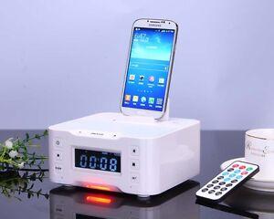 bluetooth speaker alarm clock fm radio charger dock for iphone samsung huawei lg ebay. Black Bedroom Furniture Sets. Home Design Ideas