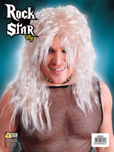 Rock Star Black /& Blond Wig For Adult 1970s 1980s Men/'s Fancy Dress Accessory