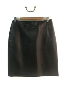 Jane-Lamerton-Black-Leather-Skirt-Sz-16-Small-Fit-RRP-385-As-New