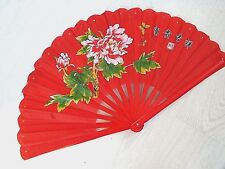 CHINESE XL RED PEONY BAMBOO MARTIAL HAND FAN KUNG FU JAPANESE TAI CHI TAIJI A3