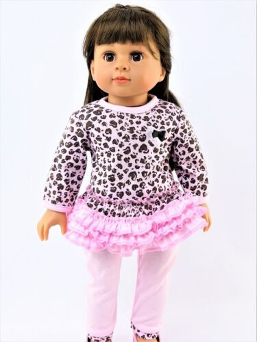 "Pink Leopard Ruffle Pant Set Fits 18/"" American Girl Doll Clothes"