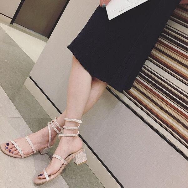 Sandali 7 cm eleganti strass beige tacco quadrato sandali pelle sintetica 1164