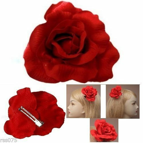 Red Rose Flower Hair Burlesque Clip Fork Clip Girl Rockabilly Big 50s Gift