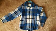 Vintage 50s-60s Woolrich Blue Plaid Full Zip Soft Wool Jacket Sz M Medium EUC!