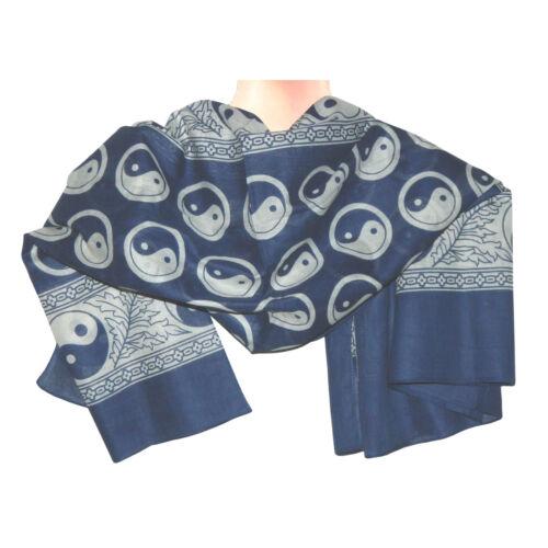 Halstuch Yin Yang blau Baumwolle 100 x 100 cm bedruckt Kopftuch PORTOFREI