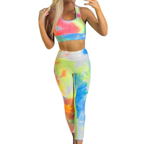 Women 2Pcs Seamless Yoga Suit Crop Top Leggings Sports Bra Pants Fitness Gym Set