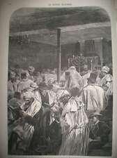 JUDAÏCA GRAND PARDON YOM KIPPOUR SYNAGOGUE SAINT-LOUIS-EN-L'ISLE GRAVURE 1872