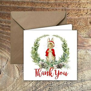 CHRISTMAS-THANK-YOU-CARDS-Cute-Santa-Peter-Rabbit-Kids-DESIGN-PACK-OF-5