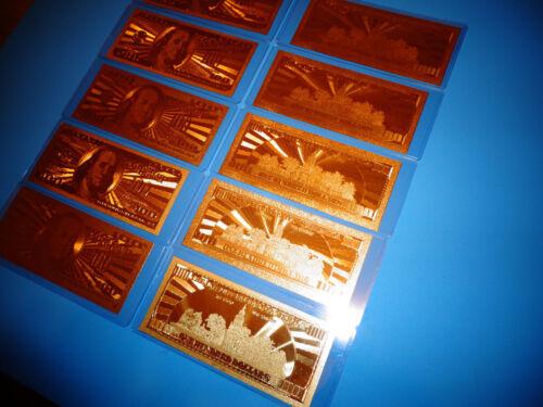 GOLD U.S.A 100 DOLLAR BILL-2009-EACH COMES IN RIGID PVC BILL HOLDER GREAT GIFT