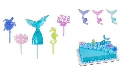 24 cake topper 2 dozen Mermaid Tail Wrap cupcake rings