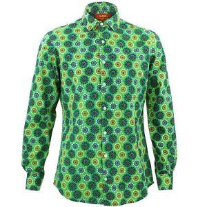Caleidoscopio Loud Shirt Originals Fantaisie Mens Slim Psychᄄᆭdᄄᆭlique Rᄄᆭtro Fit Vert yvIY6gbf7