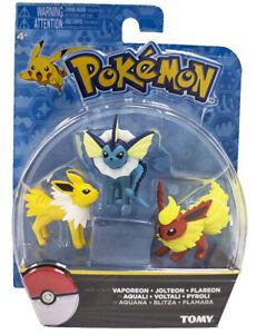 TOMY-Pokemon-Monster-Vaporeon-Jolteon-Flareon-Aquali-Figure-Sef-of-3PCS-Toy