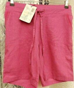 "( Ref 966 ) Tom Franks - Size 10 W 28"" - Ladies Pink Linen Summer Shorts Bnwt"