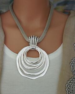 Modeschmuck kette silber  Bettelkette Statement Halskette Modeschmuck Kette Silber Collier ...