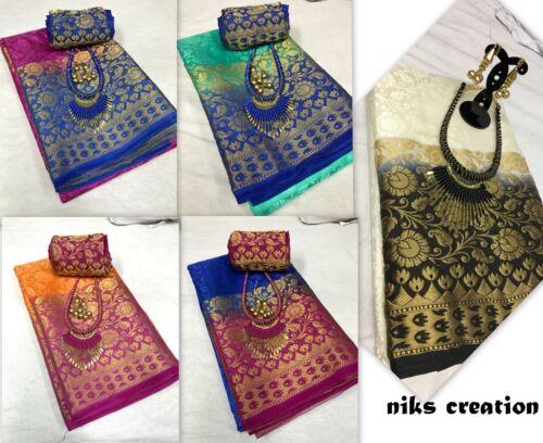 Designer saree pakistani indian Bollywood KANCHIVARAM COTTON silk ethnic sari P1
