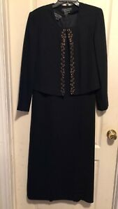 Cynthia Howie for Maggy Boutique 2 piece Black Dress, Gold Trim Jacket, Size 10