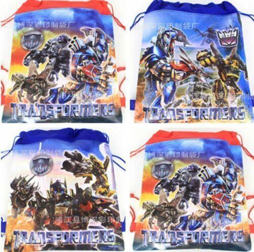 10Pcs Transformers Kids Boys Non-Woven Drawstring Bag Swimming Backpack
