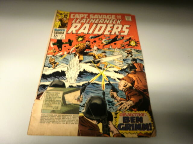 L4 MARVEL COMIC CAPT SAVAGE AND LEATHERNECK RAIDERS ISSUE #7 OCT 1968 COVER TORN