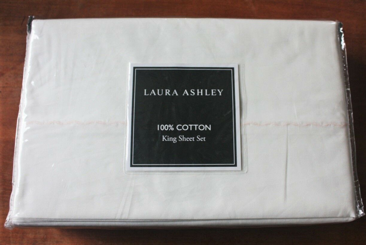 Laura Ashley  KING 4pc Ivory Sheet Set with Pretty Pink Embroidered Scallop