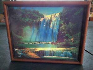 Vintage Framed Light Up Motion Waterfall Moving Wall Art Electric Picture EXCDN