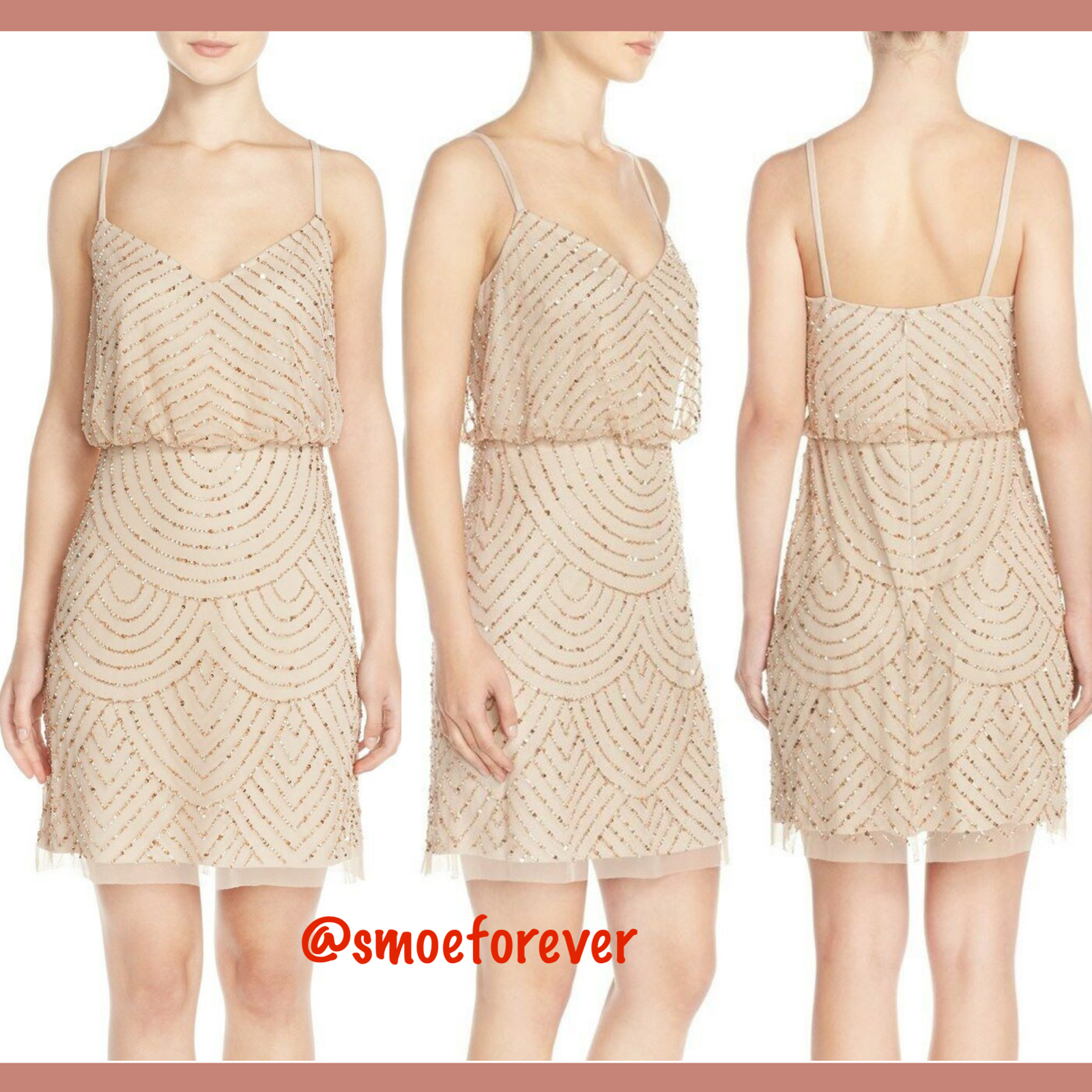 NEW Adrianna Papell Sequin Mesh Blouson Dress in Champagne Gold [SZ 0 ] #R55