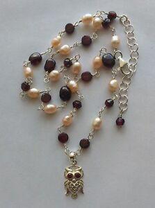 Collana perle di fiume rosa granato ciondolo Gufo Civetta rosario Argento 925
