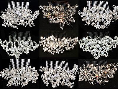 BRIDAL WEDDING HAIR COMBS DIAMANTE CRYSTAL PEARL COMB CLIP SLIDE TIARA
