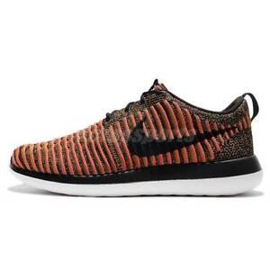 Nike Roshe Two Flyknit # 844833 009 Black And White-Max Orange Men SZ 8 - 13