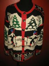 Hideous Vtg handknit Skiers Ugly Christmas Cardigan Sweater S EUC