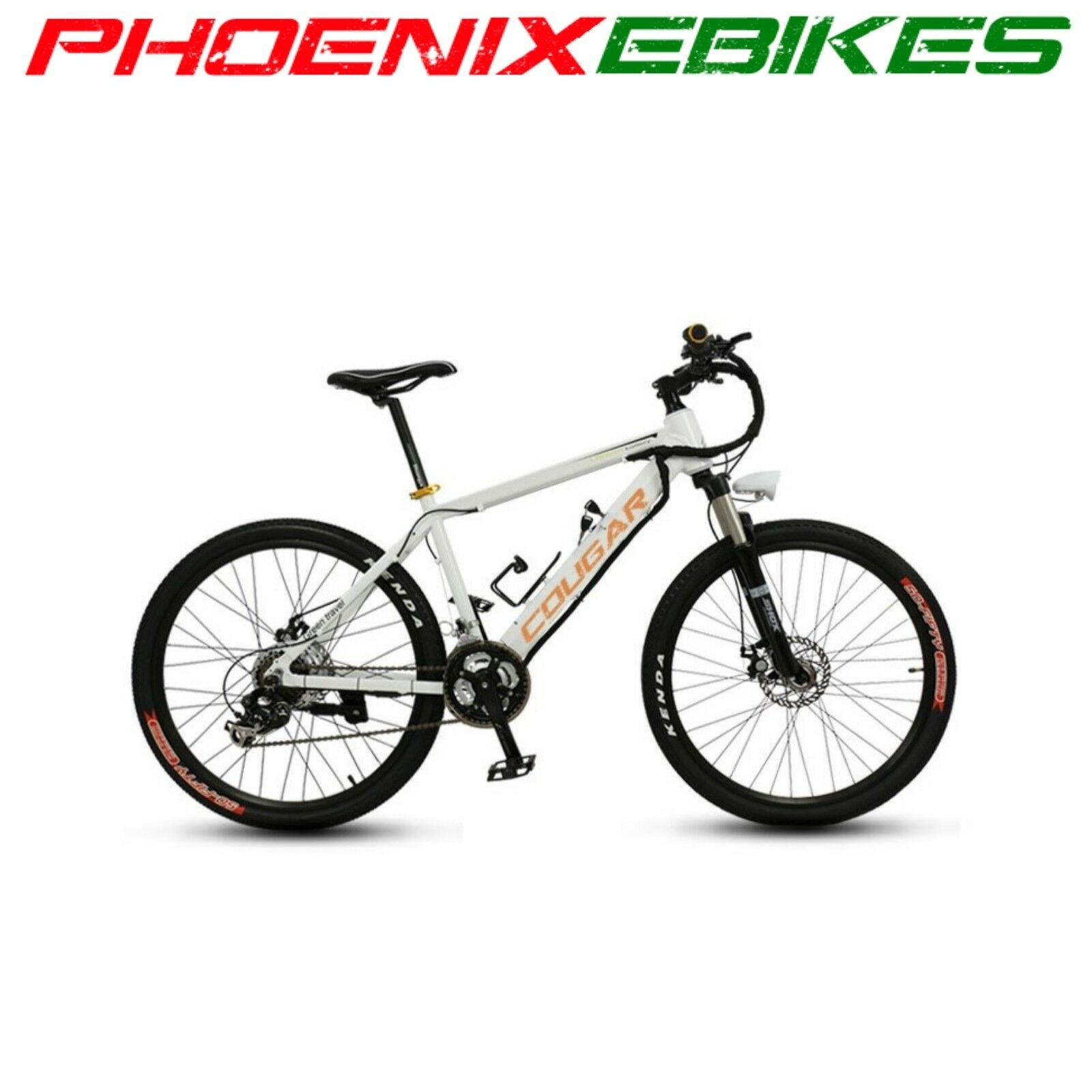 New  White COUGAR Electric Mountain EBike HIDDEN 36volt 9ah Battery 21 Speed