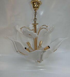 Suspension-Chandelier-Lustre-Murano-Franco-Luce-Edition-1960-Calla-Lilies
