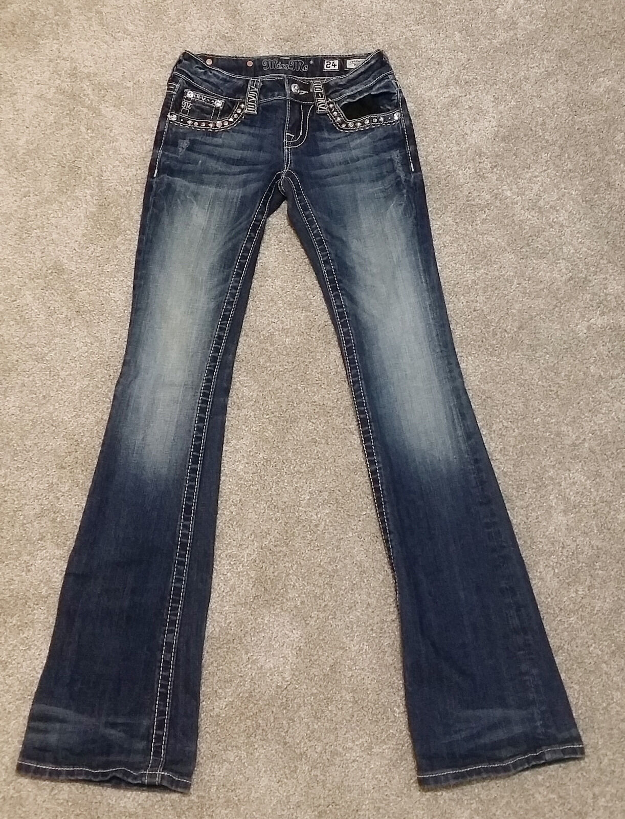 RARE - Women's Fashion - Miss Me Bootcut Wash Denim Jeans -  Size 24