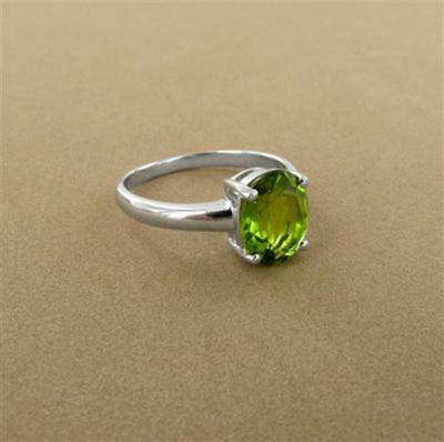 Handmade Natural Peridot Ovale Cut Argent Sterling 925 Bague Bijoux Taille 3-13 US