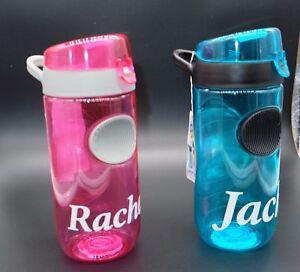 9626f77657 Personalised Water Drink Bottle Pink/Blue Kids Your Name on BPA free ...
