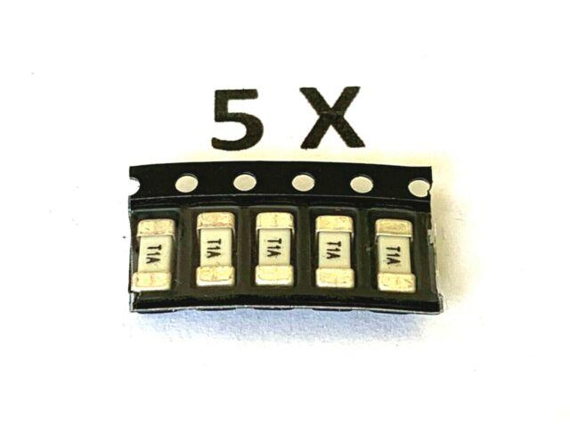 1A Träge, 125VDC/VAC, 2,6x6,1mm, SMD 2410, Sicherung, SIBA, 158000.1GT,  5 Stück