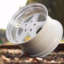 """18"""" ESR SR04 White Machined Lip Wheels 18X10.5 +22 5x114.3 Rims Set of 4"""