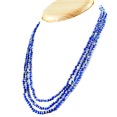 371.95 CTS NATURAL RICH BLUE CHALCEDONY 3 STRAND ROUND SHAPE BEADS NECKLACE