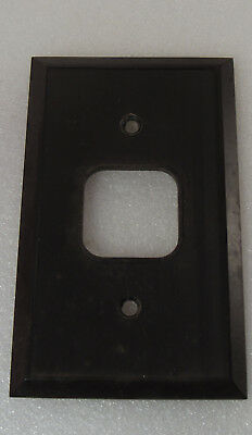 Vintage Brown Bakelite Single Switch Plate Cover Ribbed Art Deco NOS