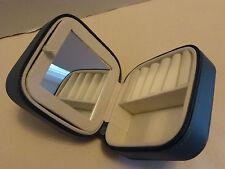 Mini Blue Travel Jewelry Box Zippered Case NEW Organizer Portable with Mirror