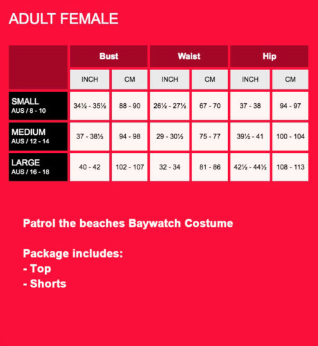 Licensed Mens Ladies Baywatch Beach Lifeguard Patrol Fancy Dress Costume Outfits