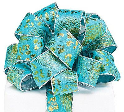"""Burton Turquoise Velvet Gold Peacock Wired Ribbon 1.5/"""" x 20 Yd Roll by Burton"""