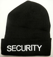 Security Knit Watch Cap/hat White On Black