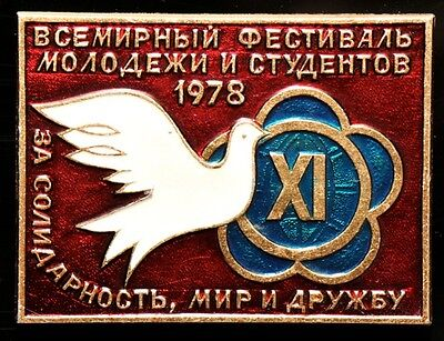 XI WORLD FESTIVAL OF YOUTH AND STUDENTS, CUBA 1978, SOVIET USSR PIN BADGE